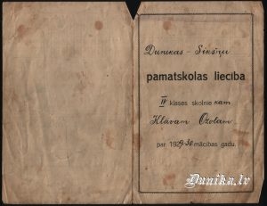 Dunikas- Sikšņu pamatskolas 1929 g liecība