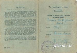 Katrīnas Kurzemes dz. Bergmanes (dz. 1887 - m. 13.10.1975.) draudzes zīme Liepājas Sv. Annas baznīcā.