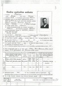 Miķeļa Veisbuka Bieranda d. (dz. 1912. gada 14. martā Dunikas pagastā; māte - dz. Iesalniek)kadru uzskaites anketa no Ventspils arhīviem.
