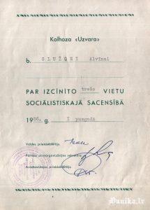 Goda apliecība sociālistiskās sacensības uzvarētājam Glužģei Alvīnei 1986,gadā
