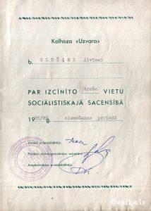 Goda apliecība sociālistiskās sacensības uzvarētājam Glužģei Alvīnei 1985/1986 ziemošanas periodā.