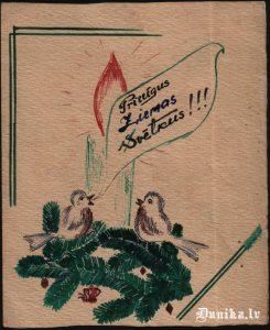 Tiļugu Ritas zīmēta apsveikuma kartiņa.