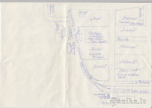 Ausmas Intenbergas zīmēts mājvietu plāns.