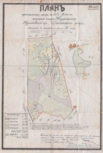 """Zemnieku sētas """"Ziemeļi"""" zemju plāns 1911. gads."""